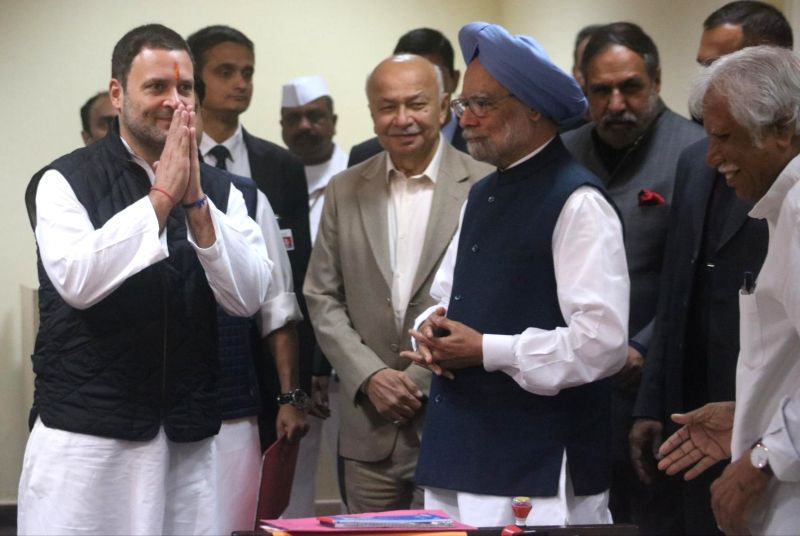 Congress Vice President Rahul Gandhi​ with ​senior party leaders Manmohan Singh​,​ ​​Sushilkumar Shinde and Anand Sharma ​as he arrives to file nomination papers ​​for ...