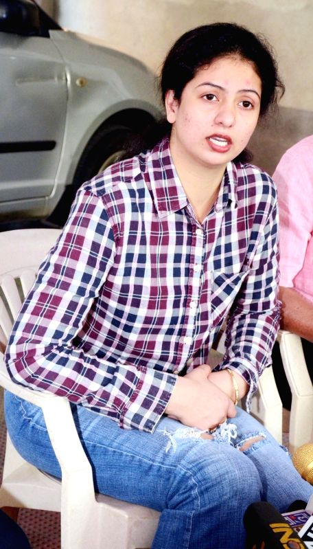 Cricketer Mohammed Shami's wife Hasin Jahan, wife of cricketer Mohammed Shami talks to press in Kolkata on March 11, 2018.