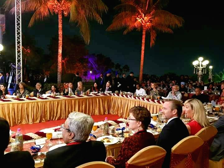 Delegates during a dinner hosted by Prime Minister Narendra Modi at Taj Falaknuma in Hyderabad on Nov 28, 2017.