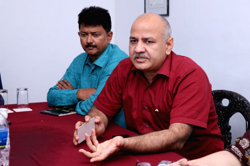 Delhi Deputy Chief Minister ​and AAP leader ​Manish Sisodia talks to media, in Panaji, on July 23, 2018.(Image Source: IANS)