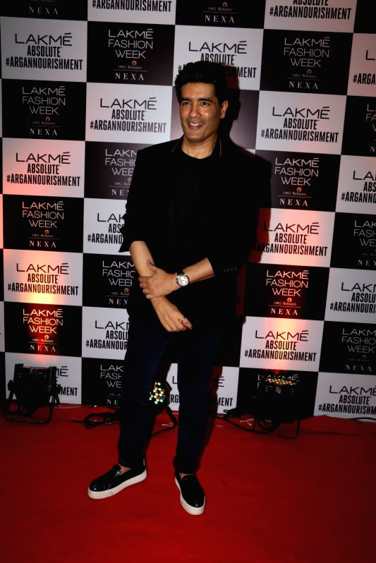 Designer Manish Malhotra during the opening show of Lakme Fashion Week Winter/Festive 2017 by designer Sanjay Garg, in Mumbai on Aug 16, 2017.