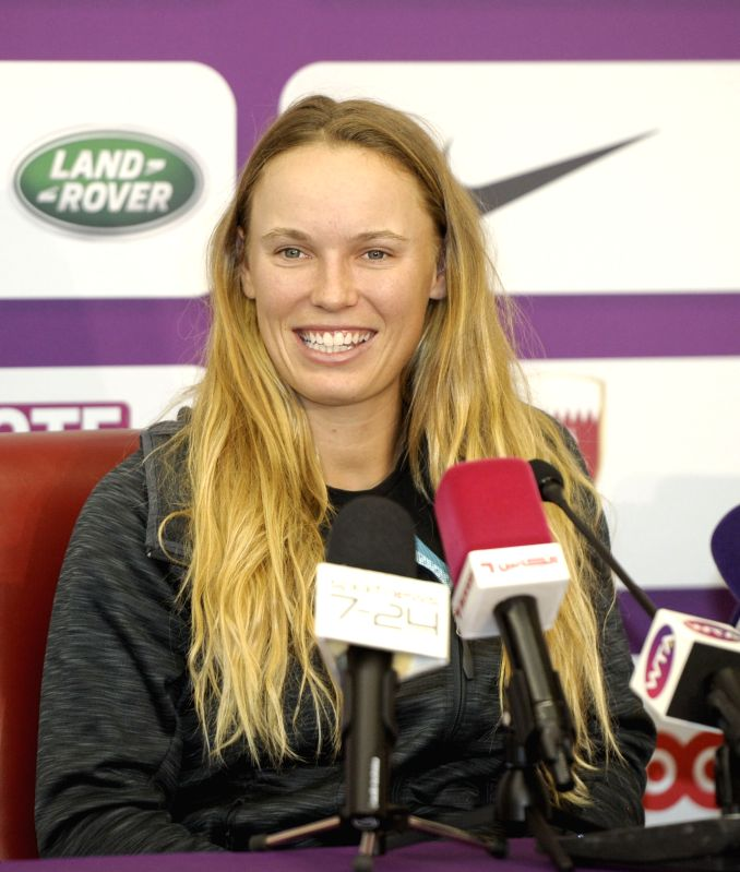 DOHA, Feb. 11, 2018 - Caroline Wozniacki of  Denmark attends a press conference ahead of the 2018 WTA Qatar Open in Doha, Qatar, on Feb. 11, 2018.(Image Source: Xinhua/Nikku/IANS)