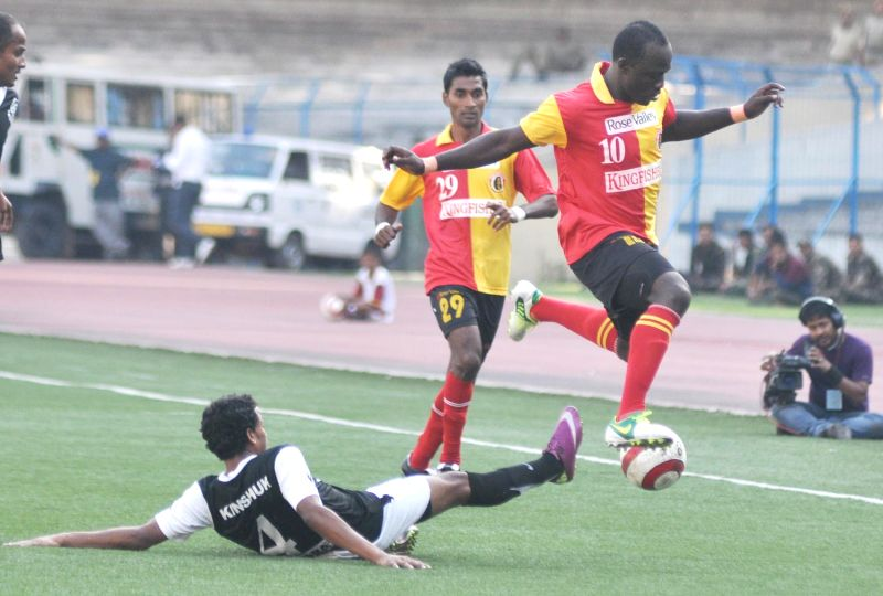 East Bengal striker Edeh Chidi  in action during East Bengal vs MD. Sporting Club Kolkata League ...