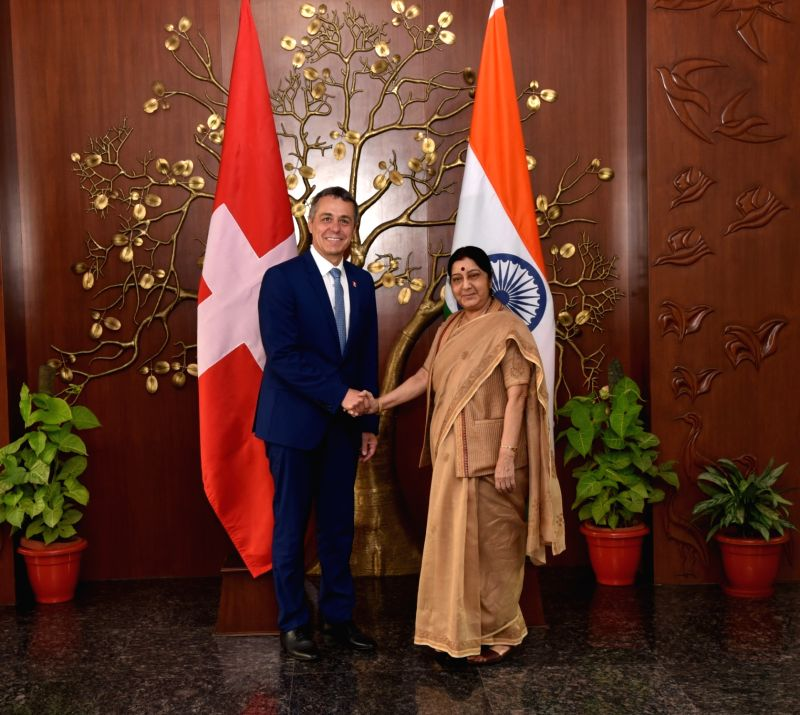 External Affairs Minister Sushma Swaraj meets Switzerland Foreign Affairs Minister Ignazio Cassis, in New Delhi, on Aug 10, 2018.(Image Source: IANS/MEA)