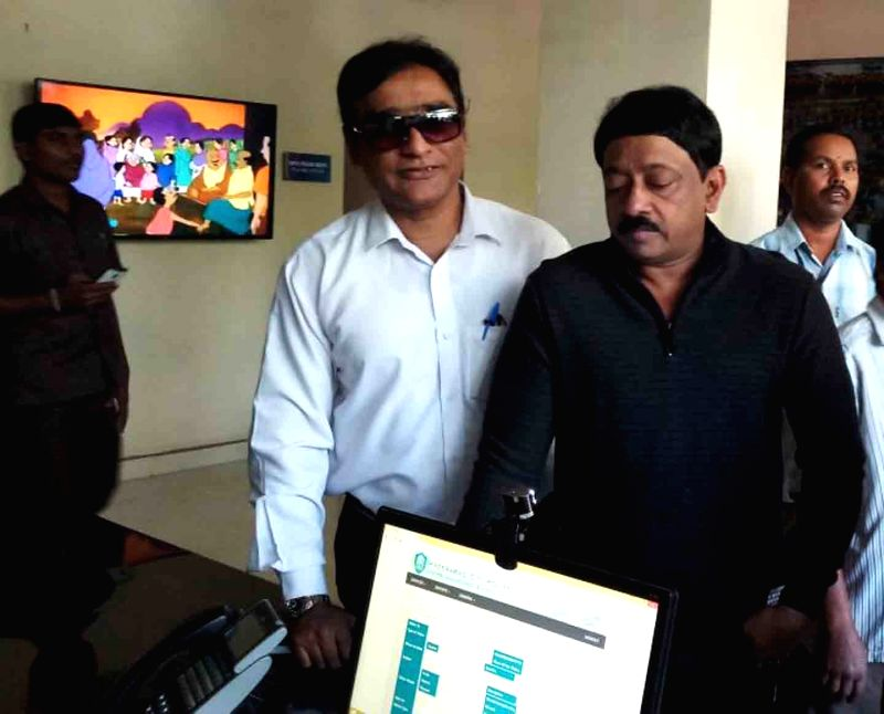 Film Director Ram Gopal Varma appears before the Central Crime Station police in connection with a case booked against him for alleged derogatory remarks on women in Hyderabad on Feb 17, ...