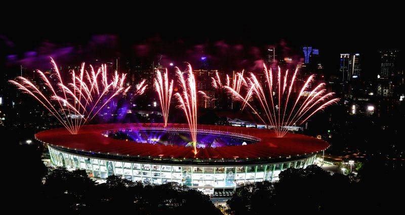 : Fireworks explode over the Gelora Bung Karno (GBK) Main Stadium at the opening ceremony of the 18th Asian Games in Jakarta, Indonesia, Aug. 18, 2018.(Xinhua/Li ...(Image Source: IANS)