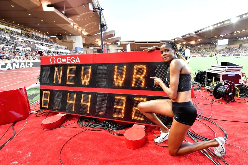 FONTVIEILLE, July 21, 2018 - Beatrice Chepkoech of Kenya poses for photos after the  women's 3000m steeple match at the IAAF Diamond League athletics 'Herculis' meetings in Fontvieille, Monaco on ...(Image Source: Xinhua/Chen Yichen/IANS)