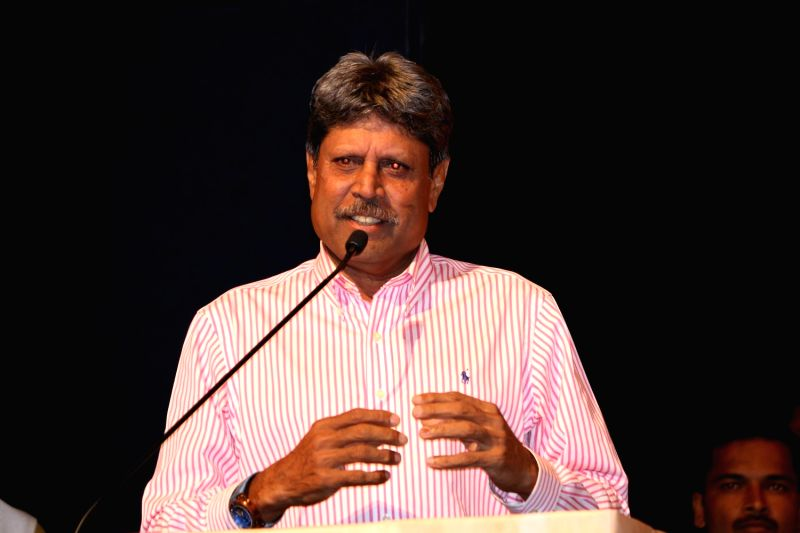 Former Indian cricket player Kapil Dev during the Master Dinanath Mangeshkar Purashkar in Mumbai on April 24, 2017.