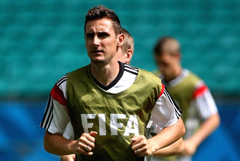 : Germany's Miroslav Klose attends a training session at the Arena Fonte Nova Stadium in Salvador,Brazil, June 15, 2014. (Photo:Xinhua/Cao Can/IANS).(Image Source: IANS)