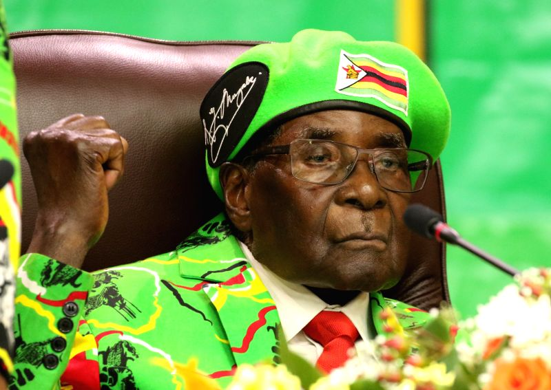HARARE, Oct. 7, 2017 - Zimbabwean President Robert Mugabe attends the ruling ZANU-PF Youth League National Assembly meeting in Harare, Zimbabwe, on Oct. 7, 2017. Zimbabwean President Robert Mugabe ...