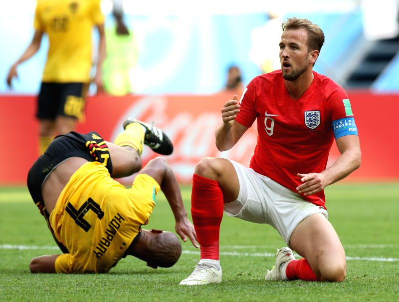 Harry Kane (R) of England reacts after missing a chance to score during the 2018 FIFA World Cup third place play-off match between England and Belgium in ...(Image Source: Xinhua/Lu Jinbo/IANS)