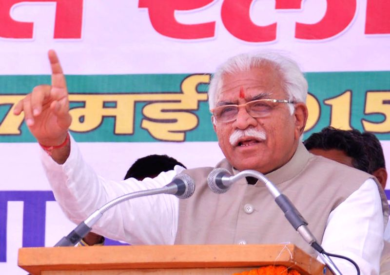 Haryana Chief Minister Manohar Lal Khattar. (Image Source: IANS)
