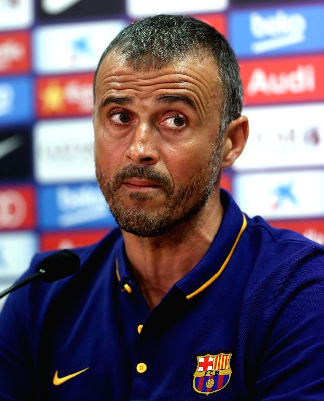 Head coach of FC Barcelona, Luis Enrique Martinez, during a press conference following a pre-season training session held at the Joan Gamper sports complex in the outside of Barcelona, northeastern ...(Image Source: EFE)