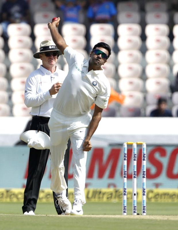 : Hyderabad: Ravichandran Ashwin of India in action on Day 1 of the Second Test match between India and West Indies at Rajiv Gandhi International Stadium in Hyderabad on Oct 12, 2018. (Photo: ...(Image Source: IANS)