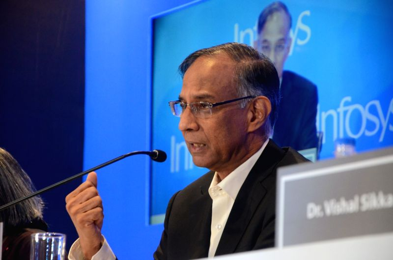 Infosys Chairman R Seshasayee addresses during a press conference in Mumbai on Feb 13, 2017.