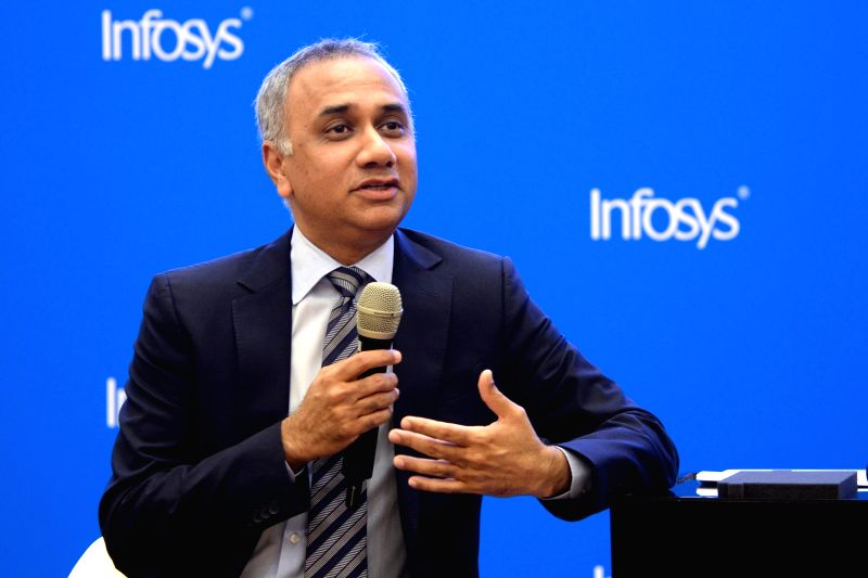 Infosys Managing Director and Chief Executive Officer Salil Parekh addresses a press conference organised to announce results of the first quarter of fiscal 2018-19, in Bengaluru, on July ...(Image Source: IANS)