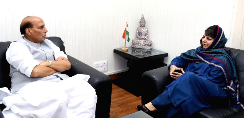 Jammu and Kashmir Chief Minister Mehbooba Mufti calls on Union Home Minister Rajnath Singh in New Delhi on Aug 29, 2017.