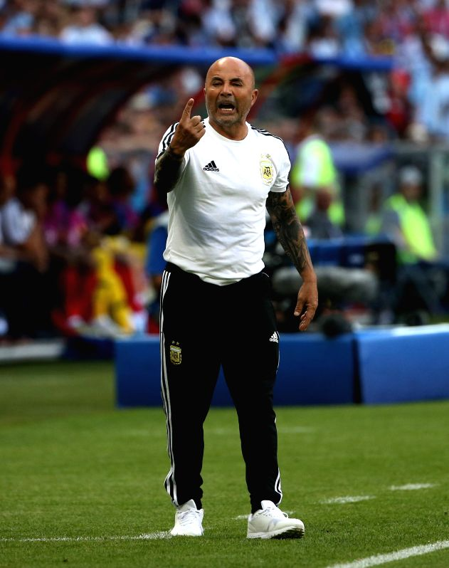 KAZAN, June 30, 2018 - Head coach Jorge Sampaoli of Argentina gives instructions to players during the 2018 FIFA World Cup round of 16 match between France and Argentina in Kazan, Russia, June 30, ...(Image Source: Xinhua/Li Ming/IANS)