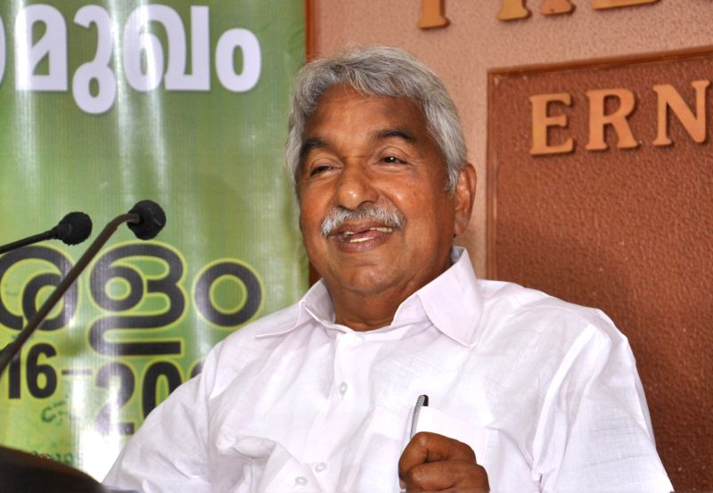 Kerala Chief Minister Oommen Chandy addresses a press conference in Kochi on May 12, 2016.