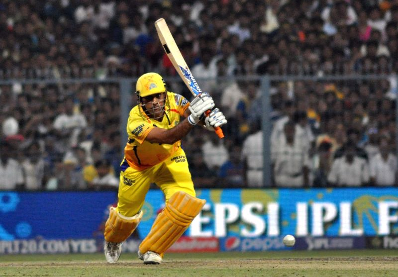 Chennai Super Kings captain MS Dhoni in action during the final match of IPL 2015 between Mumbai Indians and Chennai Super Kings at the Eden Gardens in Kolkata, on May 24, 2015.