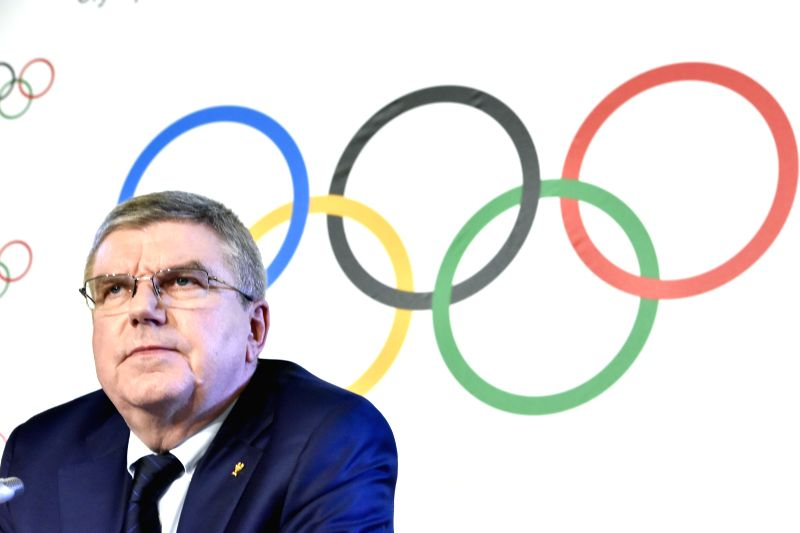 LAUSANNE, Dec. 7, 2017 - International Olympic Committee (IOC) President Thomas Bach holds a press conference in Lausanne, Switzerland, Dec. 6 2017. The IOC on Tuesday decided to suspend the Russian ...