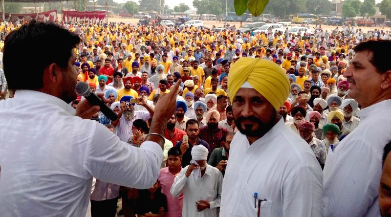 Leader of Opposition and Punjab Congress MLA Charanjit Singh Channi participates during a cycle rally