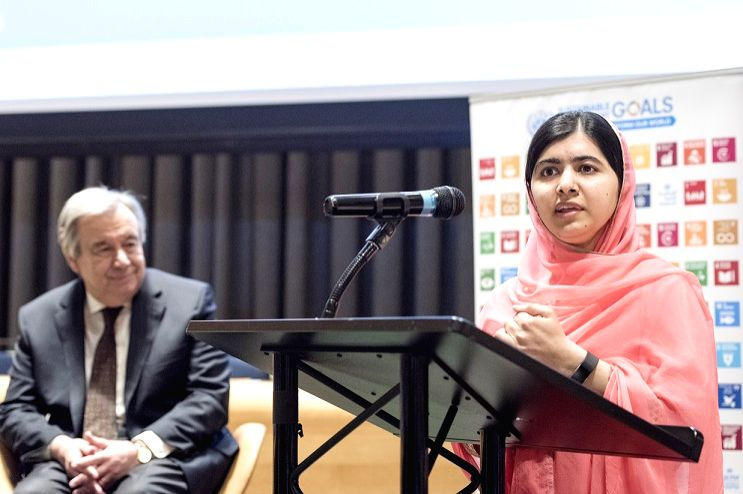 Malala Yousafzai speaks after she was appointed a United Nations Messenger of Peace on Monday, April 10, 2017, by Secretary-General Antonio Guterres at the UN in New York. The Nobel laureate who ...