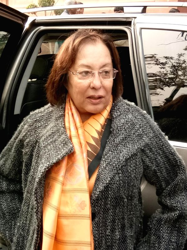 Manipur Governor Najma Heptulla at Parliament on Jan 2, 2018.(Image Source: Amlan Paliwal/IANS)