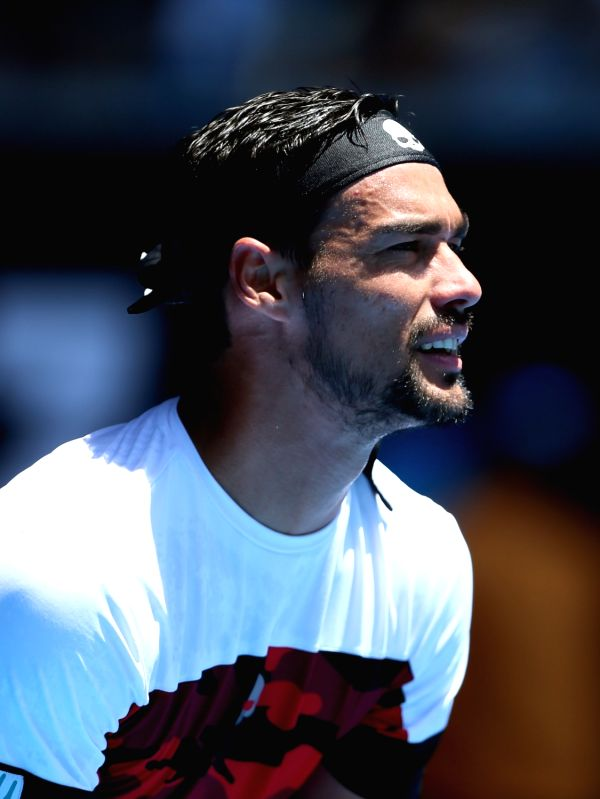 MELBOURNE, Jan. 22, 2018 - Fabio Fognini of Italy looks on during the men's singles fourth round match against Tomas Berdych (R) of the Czech Republic at Australian Open 2018 in Melbourne, Australia, ...(Image Source: Xinhua/Li Peng/IANS)