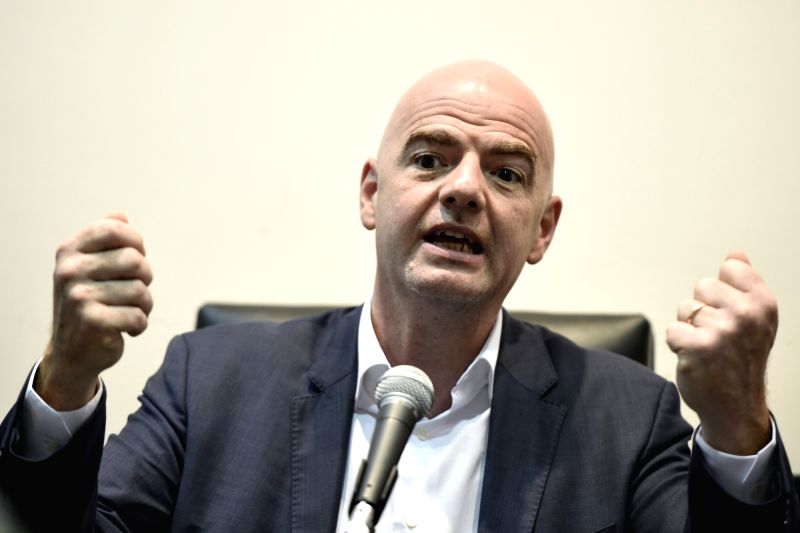 MONTEVIDEO, March 30, 2016 - FIFA's President Gianni Infantino attends a press conference in Montevideo, capital of Uruguay, on March 29, 2016. Gianni Infantino started an intensive agenda of work in ...