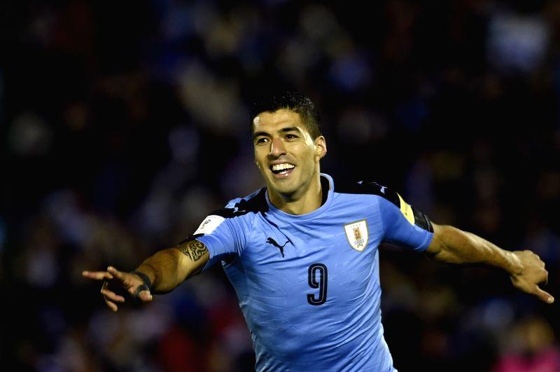 MONTEVIDEO, Oct. 11, 2017 - Uruguay's Luis Suarez celebrates after scoring during the Russia 2018 FIFA World Cup qualifier match against Bolivia, at Centenario stadium, in Montevideo, Uruguay, on ...