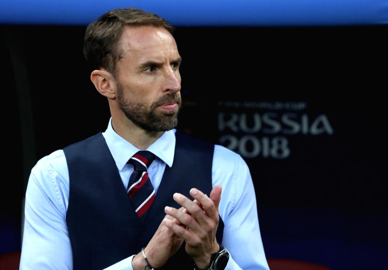 MOSCOW, July 11, 2018 - Head coach Gareth Southgate of England is seen prior to the 2018 FIFA World Cup semi-final match between England and Croatia in Moscow, Russia, July 11, 2018.(Image Source: Xinhua/Xu Zijian/IANS)