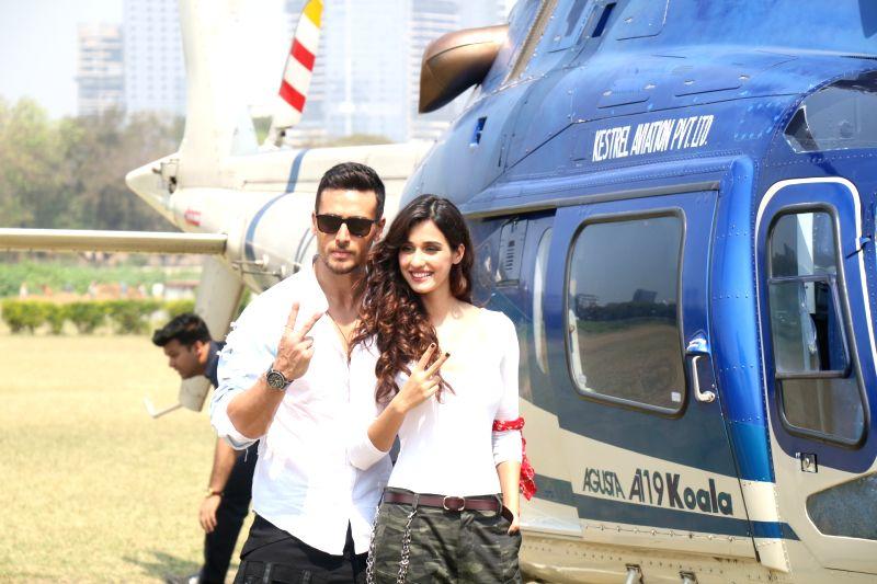 :Mumbai: Actors Tiger Shroff and Disha Patani at the trailer launch of their upcoming film
