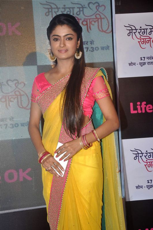 Television actor Rashmi Gupta during the launch of Life Ok`s television serial Mere Rang Mein Rangne Wali in Mumbai, on November 13, 2014.