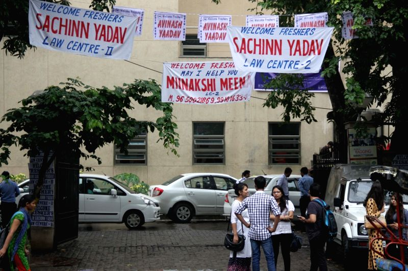 :New Delhi: A view of the posters displaying the names of contesting candidates ahead of Delhi University (DU) elections in New Delhi on Sept 5, 2017. (Photo: IANS).