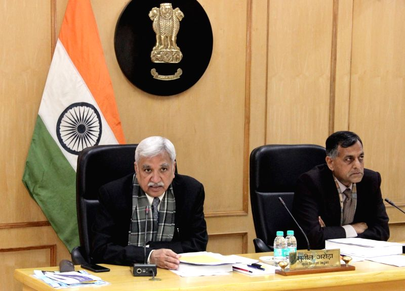 New Delhi: Chief Election Commissioner Sunil Arora and Election Commissioner Ashok Lavasa at a review meeting for Poll Preparedness with all State CEOs, in New Delhi on Jan 12, 2019. (Photo: IANS/PIB)(Image Source: IANS News)