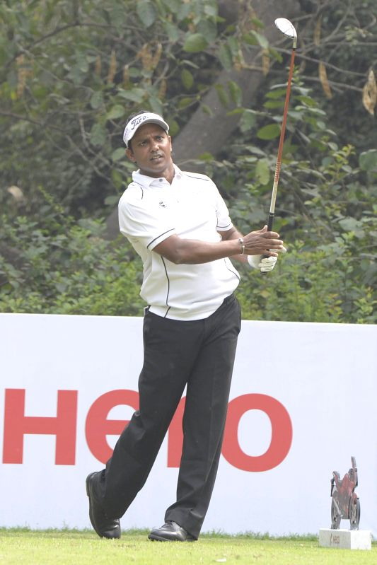 Indian golfer S.S.P. Chawrasia during $1.5 million Indian Open at Delhi Golf Club (DGC) in New Delhi, on Feb 20, 2015.