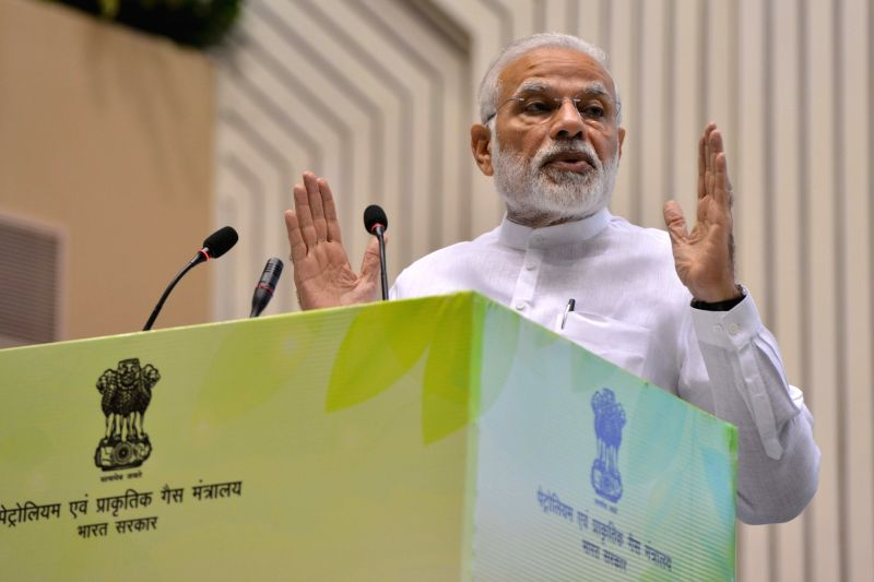 ": New Delhi: Prime Minister Narendra Modi addresses at the inauguration of the ""World Biofuel Day 2018"" programme, in New Delhi, on Aug 10, 2018.(Photo: IANS).(Photo:IANS)"