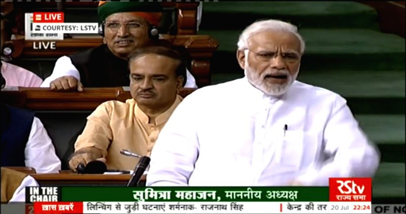 : New Delhi:  Prime Minister Narendra Modi addresses in Lok Sabha in New Delhi on July 20, 2018. (Photo: IANS/LSTV Grab).(Image Source: IANS)