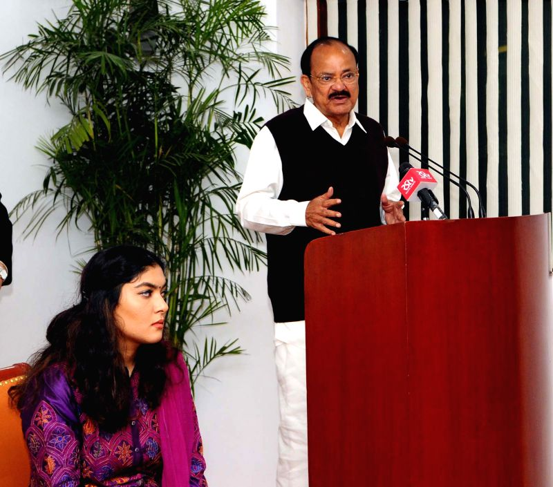 :New Delhi: Vice President M Venkaiah Naidu addresses after releasing the Book 'Trials of Truth' authored by Pinky Anand and Gauri Goburdhun in New Delhi on Feb 13, 2018. (Photo: ...