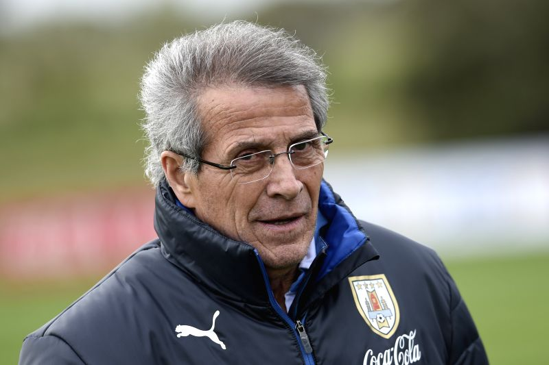 : Oscar Washington Tabarez, head coach of Uruguay's national soccer team, attends a training session in Canelones, Uruguay, on Oct. 9, 2015. Uruguay will ...
