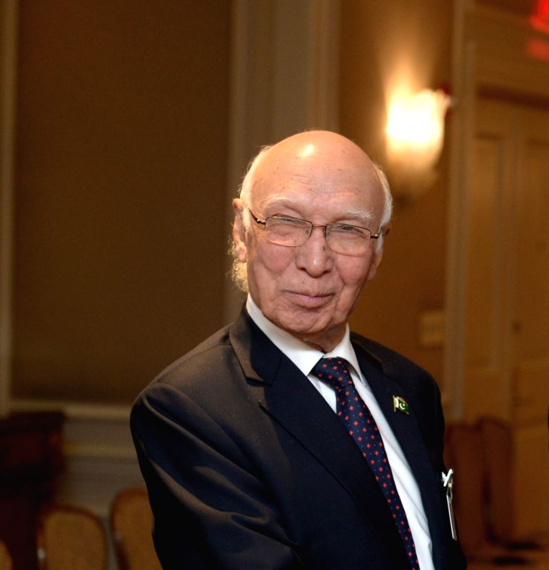 :Pakistan Prime Minister Adviser on National Security and Foreign Affairs Sartaj Aziz. (File Photo: Xinhua/IANS).