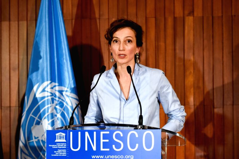 PARIS, Oct. 13, 2017 - Audrey Azoulay delivers a speech at the headquarters of United Nations Educational, Scientific and Cultural Organization (UNESCO) in Paris, France, on Oct. 13, 2017. French ...(Image Source: Xinhua/Chen Yichen/IANS)