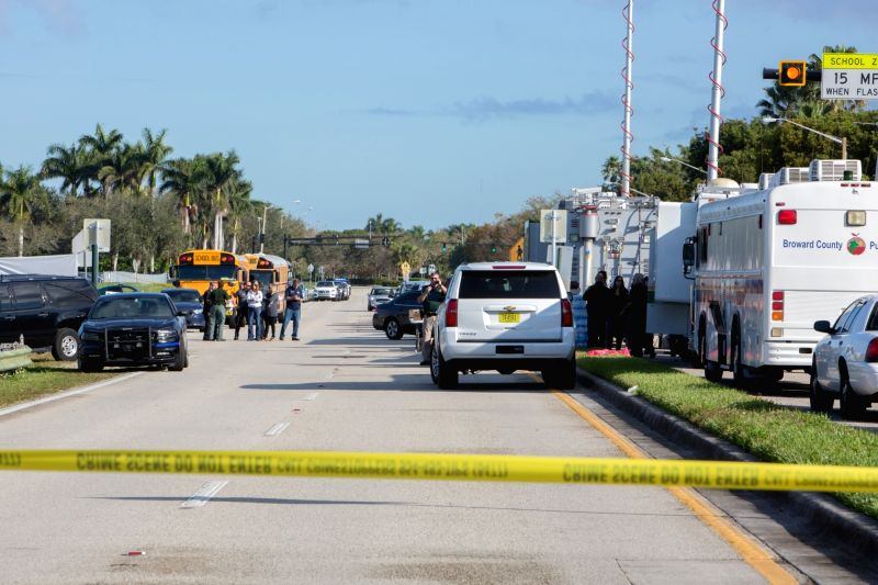 PARKLAND (U.S.), Feb. 15, 2018 The site of a mass shooting near Marjory Stoneman Douglas High School is sealed off in Parkland, Broward County, Florida, the United States, on Feb. 15, ...
