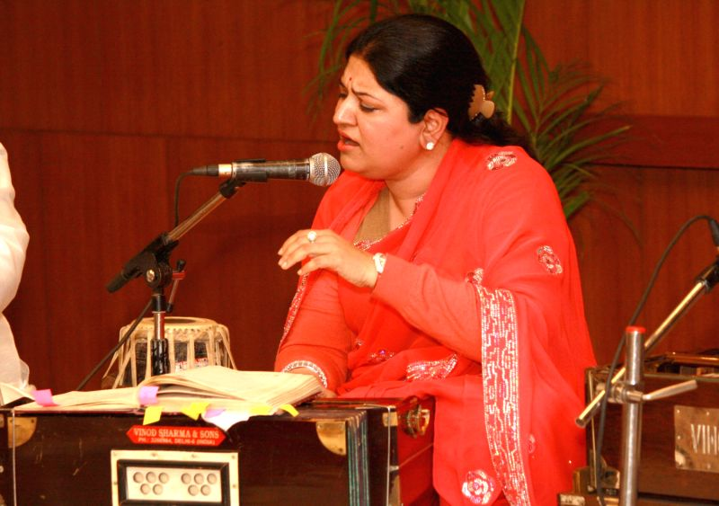 "Performance by Ghazal singer Anita Singhvi at the launch of website""Rekhta.org"" for Urdu lovers,in ..."