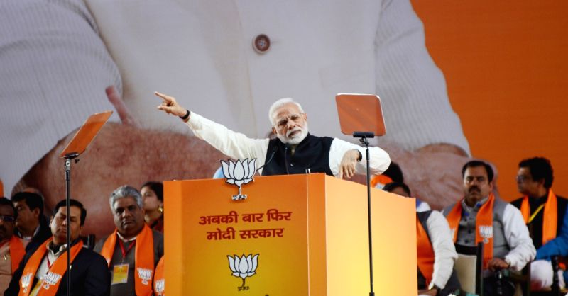 Prime Minister and BJP leader Narendra Modi addresses on the second day of the party's two-day long National Council meeting at Ramlila Maidan in New Delhi, on Jan 12, 2019.(Image Source: IANS)