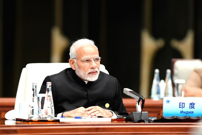 QINGDAO, June 10, 2018 - Indian Prime Minister Narendra Modi speaks at a restricted session of the 18th Shanghai Cooperation Organization (SCO) summit in Qingdao, east China's Shandong Province, June ...