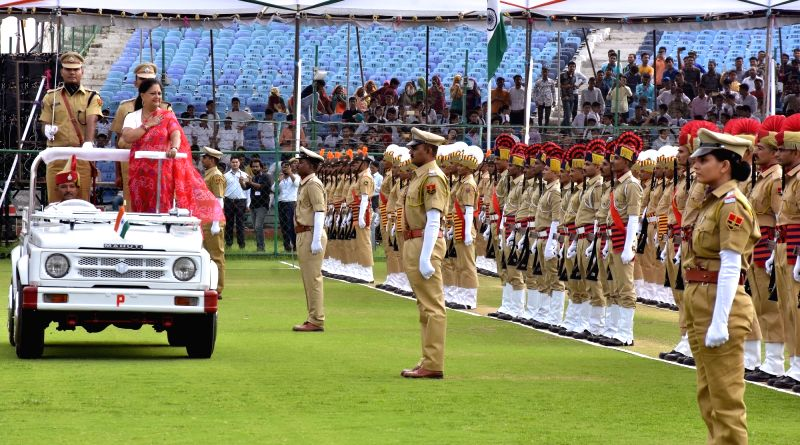 Rajasthan Chief Minister Vasundhara Raje inspects the Guard of Honour during the 72nd Independence Day celebrations at Sawai Mansingh Stadium, in Jaipur on Aug 15, 2018.(Image Source: Ravi Shankar Vyas/IANS)