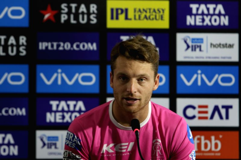 Rajasthan Royals' Jos Buttler addresses a press conference ahead of an IPL 2018 match against Delhi Daredevils at Ferozshah Kotla in New Delhi, on May 1, 2018.(Image Source: Surjeet Yadav/IANS)