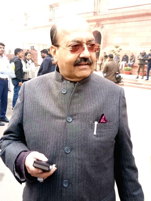 Rajya Sabha MP Amar Singh at Parliament on Jan 2, 2018.